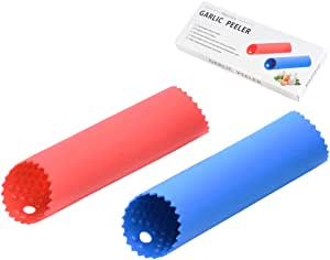 [Upgraded Version] Maxracy 2 Set Silicone Garlic Peeler Easy Roller Peeling Tube Odor Free Useful Kitchen Tool—Color: Red, Blue