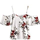Zalanala Womens Summer Printed Blouse Cold Shoulder Tops (S, White)