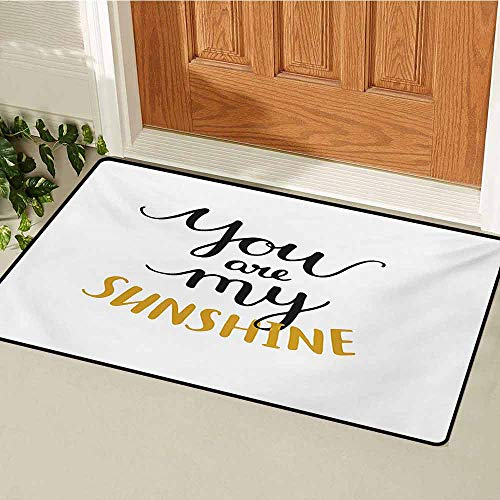 GUUVOR Quote Welcome Door mat Big Font Classical Romantic Partners Phrase Soul Mates Theme Calligraphy Image Door mat is odorless and Durable W35.4 x L47.2 Inch Mustard Black