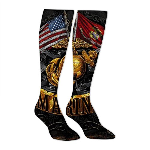 SHNeiy Funny USMC Unisex 3D Pattern Long Stocking Basketball Sports Crew Tube Socks