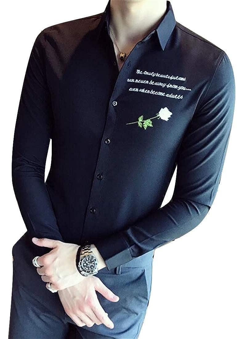 YYear Mens Badge Long Sleeve Vogue Slim Fit Lapel Collar Button Down Blouse Shirt