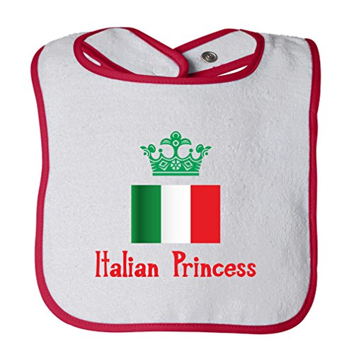 Italian Princess Crown Cotton Terry Unisex Baby Terry Bib Contrast Trim - White Red, One (Crown Italian)