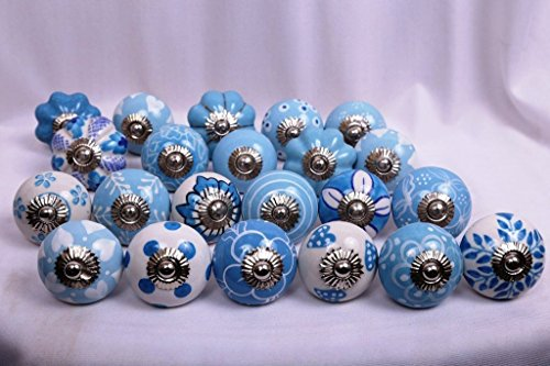 (Glitknob 10 Knobs Sky Blue Dots & White Hand Painted Ceramic Knobs Cabinet Drawer Pull)
