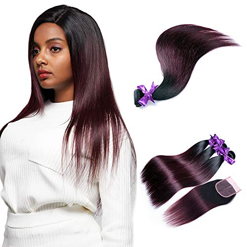 Ombre Bundles with Closure Royal Remy Brazilian Virgin Human Hair,2 Tone 3 Bundles with Closure, 100% Handmade 1b/burg# Straight Human Hair for American African (22 24 26, wgst 1b burg)