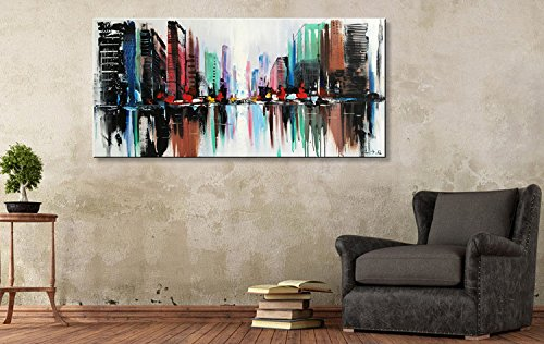 Everfun Hand Painted Abstract Cityscape Oil Painting Modern Building Colorful City Artwork Canvas Art Wall Home Office Decorations Framed Ready to Hang by EVERFUN ART (Image #3)