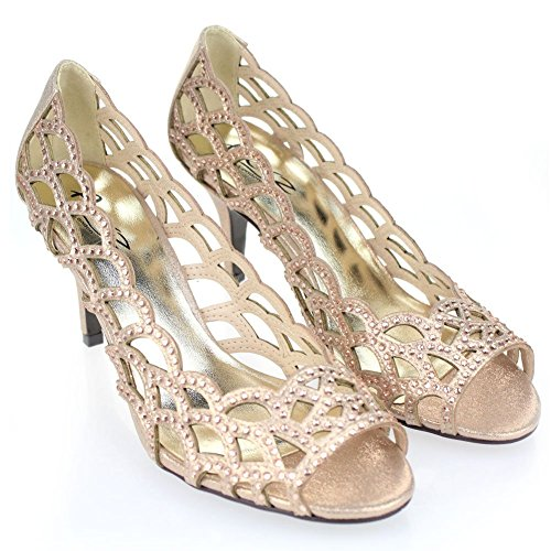 Blick Champagner Abend Schwarz Sandelholz Dame Gold Größe Frauen Zehe Aarz Champagner Diamante Hochzeitsfest Absatz Schuh Silber qXpgAxw4