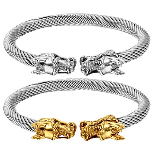 Oidea 2pcs Mens Stainless Steel Twisted Cable Adjustable Dual Dragon Head Bangle Bracelet,Silver,Gold