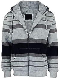 Hoodies for Men Zip Up Stripe Design Heavy Fleece Lined Sweatshirts