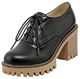 Mofri Women's Trendy Round Toe Oxfords- Low Top Solid Color Platform - Lace up Stacked Block High Heels Brogues Shoes (Black, 4 B(M) US)