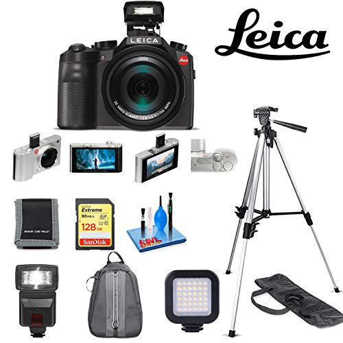 - Leica?V-LUX (Typ 114) Digital Camera with Sandisk 128GB Extreme Memory Card, Memory Card Wallet,Mini Portable LED Video Light, 72 Inch Professional Aluminum Tripod, Digital Flash, Deluxe Backpack
