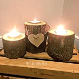 Set of 3 Tiered Real Log Wood Tea Light Candle Holders With Hand Cut Wooden Heart Perfect for Rustic Weddings!