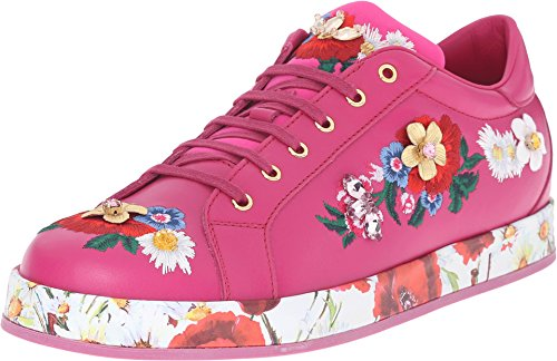 Dolce & Gabbana Kids Girls' Applique Sneaker, Fuchsia, 39 (US 8 Big Kid) M by Dolce & Gabbana