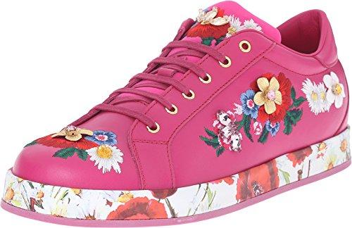 Dolce & Gabbana Kids Girls' Applique Sneaker, Fuchsia, 39 (US 8 Big Kid) M by Dolce & Gabbana