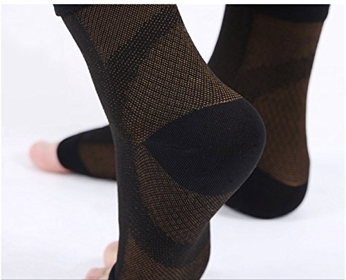 Plantar Fasciitis Copper Compression Orthotic Foot Support Sock Sleeve - Heel, Arch, Ankle Pain Relief Treatment - Fascitis Stocking Night Day Therapy for Men Women Running Yoga Tennis Walking (L/XL) by AC Socks