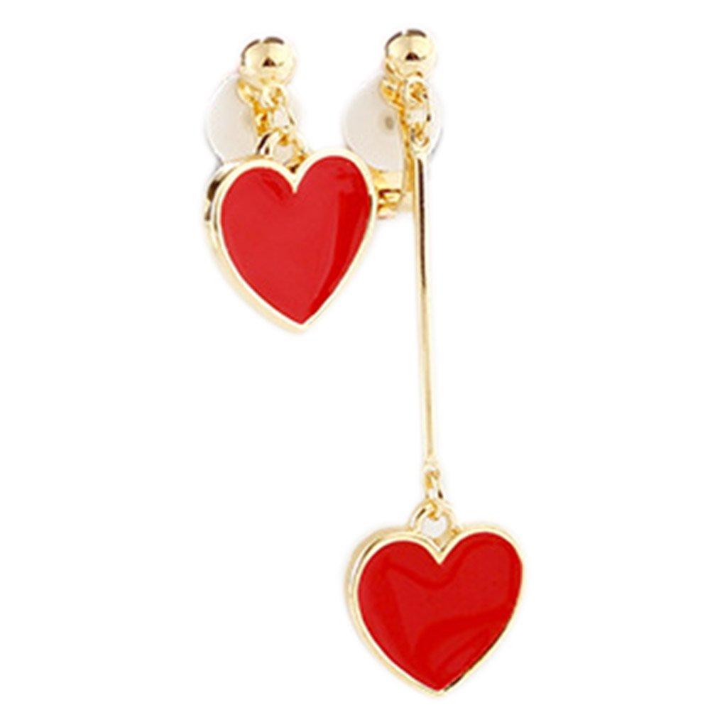 Clip On Earrings White Gold Plated Irregular Red Heart Dangle Earrings for Bridal Wedding Costume by Menoa