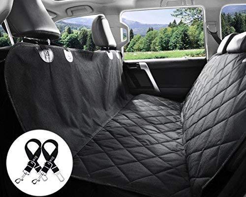 (Bonve Pet Dog Seat Cover - Waterproof Pets Car Liner with 2 Adjustable Pet Car Safety Belts Best Dog Hammock Bench Protector for Cars, SUV, Standard)