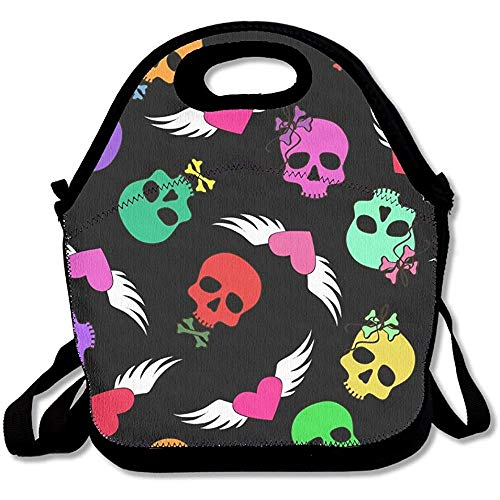Johnnie Funny Skulls and Winged Hearts Lunch Tote Bag Bags Awesome Lunch Handbag Lunchbox Box for School Work Outdoor (Heart Winged Handbag)