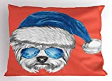 Ambesonne Yorkie Pillow Sham, Terrier with a Blue Santa Hat and Mirror Aviator Glasses Fun Hand Drawn Animal, Decorative Standard King Size Printed Pillowcase, 36 X 20 inches, Coral White Blue