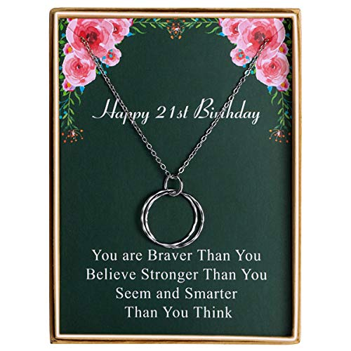 Bowisheet Happy Birthday Necklace Circles Pendant Necklace Birthday Gift for Women 21st