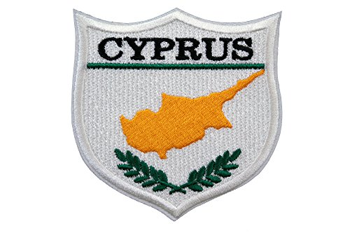 Cyprus Flag Embroidered Patch Shield (3 x 3) 100% Made in USA