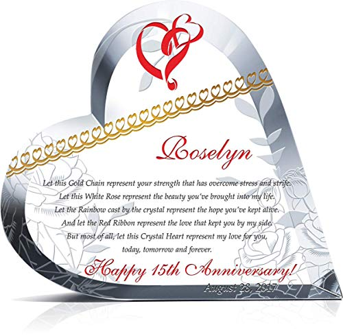 Personalized Crystal Heart 15th Wedding Anniversary Gift for Her, Customized with Anniversary Love Poem, Spouse Name and Anniversary Date, Perfect Traditional 15th Anniversary Gift for Wife (L - 6.5