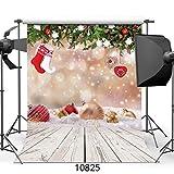 WOLADA 5x7ft Christmas Ball with Wood Floor Photography Backdrop Vinyl Newborn Photo Background studio prop 10825