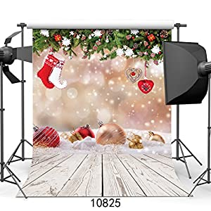 WOLADA 5x7ft Christmas Ball with Wood Floor Photography Backdrop Vinyl Newborn Photo Background studio prop 10825