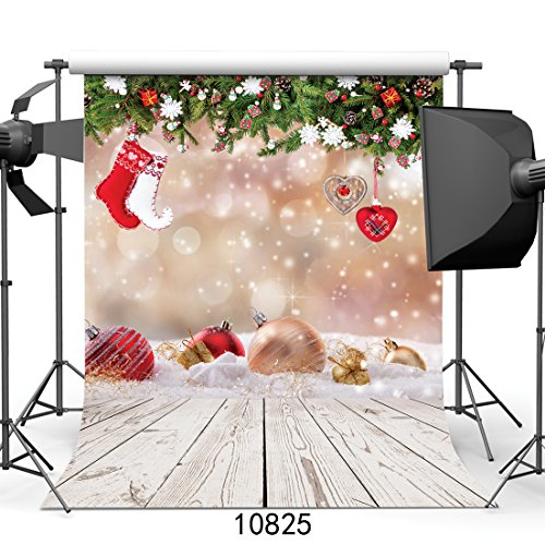 WOLADA 5x7ft Christmas Photography Backdrop Xmas Ball with Wood Floor Vinyl Newborn Photo Background Party and Event Studio Prop 10825 -