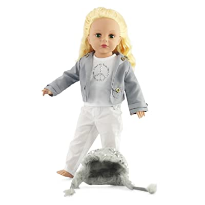18 Inch Doll Clothes - 4 Pieces Set | Gray Jacket and White Pants | Outfit Fits American Girl Dolls | Gift-boxed!