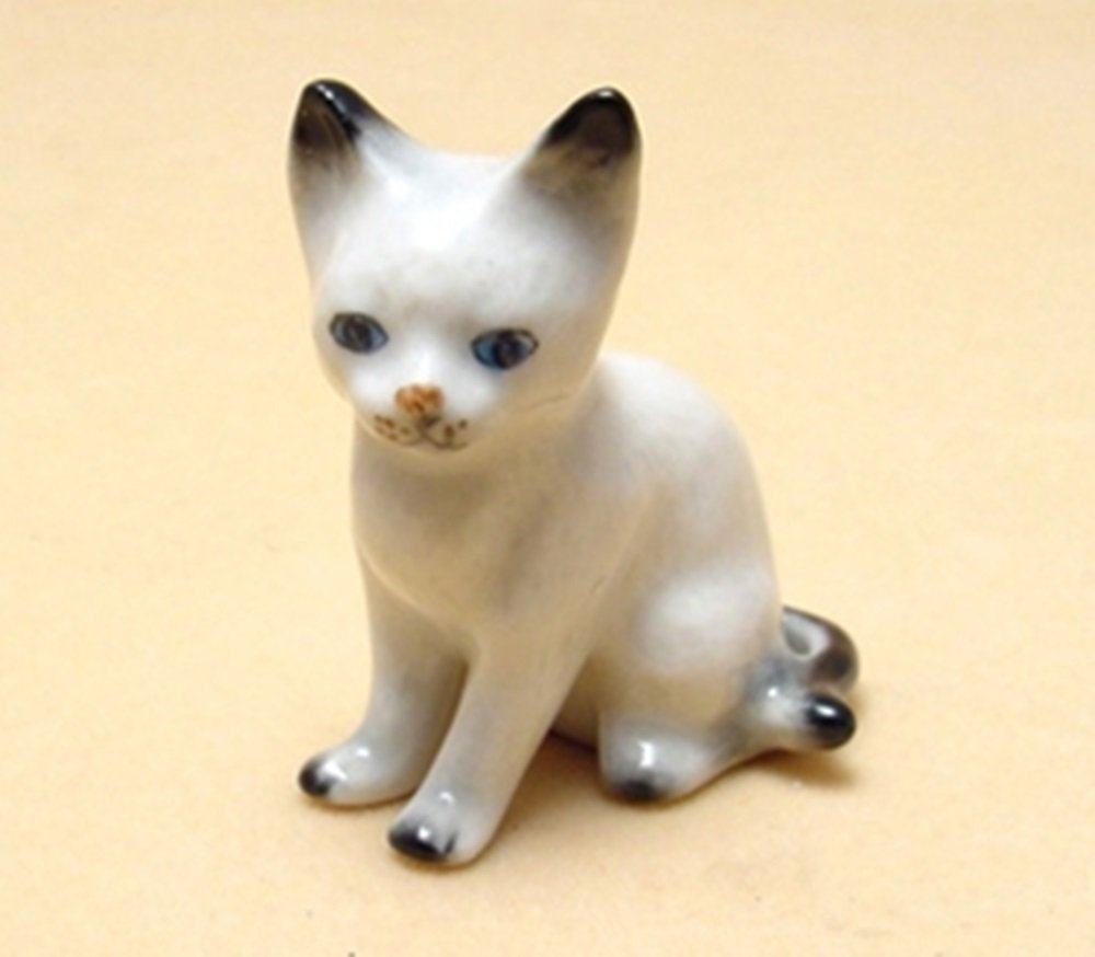 Dollhouse Miniatures Ceramic Thai Cat Sitting FIGURINE Animals Decor by ChangThai Design