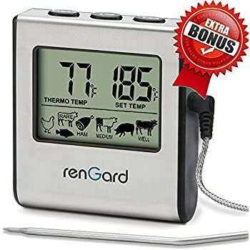 RenGard RG-16 Cooking Digital Meat Probe Thermometer with Alarm and Stainless Steel Temperature Probe - Instant Read Barbecue Smoker Grill Oven Thermometer - Bring the flavor of deluxe recipes to you!