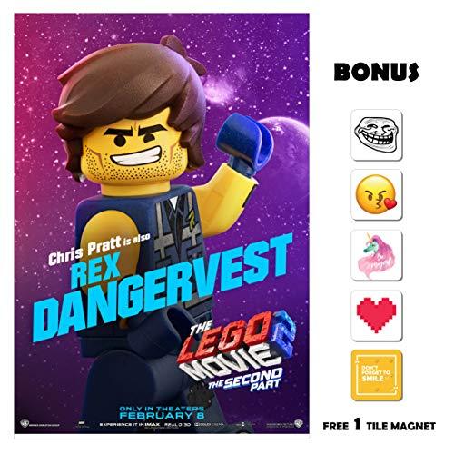 The Lego Movie 2 Movie Poster 13 in x 19 in Poster Flyer Borderless + Bonus 1 Free Tile Magnet ()