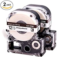 LK LC Label Tape Cartridge Compatible Epson Labelworks LW-300 LW-400 LW-500 LW-600p label printers, Black On White LC-4WBN9 (LK-4WBN), 1/2 (12mm) x 30ft (9m) - 2 Pack