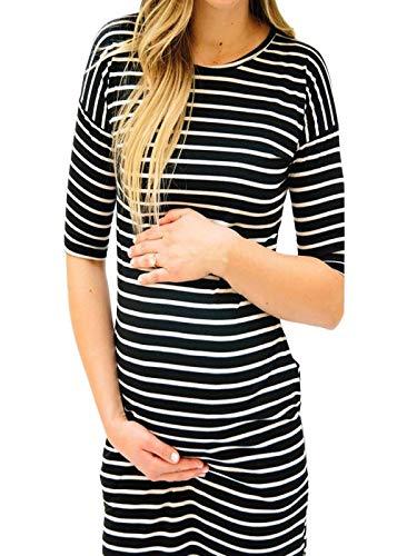 Women Pregnants Dress O-Neck Stripe Short Sleeve Nursing Maternity Dress
