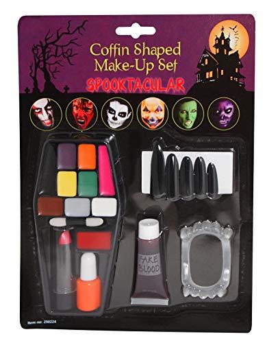 Rimi Hanger Halloween Scary Assorted Zipper Casket Vampire Makeup Face Paint Kit Accessory Casket Kit One Size ()