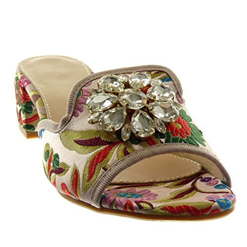 Fashion Pink High cm Rhinestone on Block Jewelry Embroidered 4 Heel Slip Shoes Sandals Angkorly Women's Mules 1aPpFp