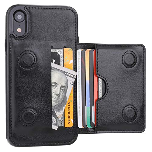Thin Flat Credit Card Case - iPhone XR Wallet Case Credit Card Holder, KIHUWEY Premium Leather Kickstand Durable Shockproof Protective Cover iPhone XR 6.1 Inch(Black)