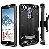 ZTE MAX XL Case, Evocel [Explorer Series Pro] Dual Layer Credit Card Case with Glass Screen Protector & Magnetic Kickstand for ZTE Blade Max 3/ ZTE Blue Max/ZTE N9560/ ZTE Z986/ ZTE N986, Black