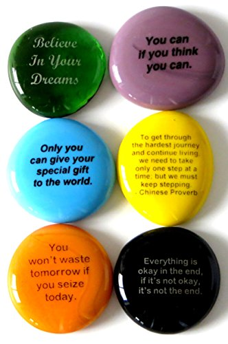 [Motivation Stones, Inspirational and Encouraging Sayings On Glass Stones Selected To Help You Make Your Dreams Come True. By Lifeforce Glass, Set II] (Pictured Stone)