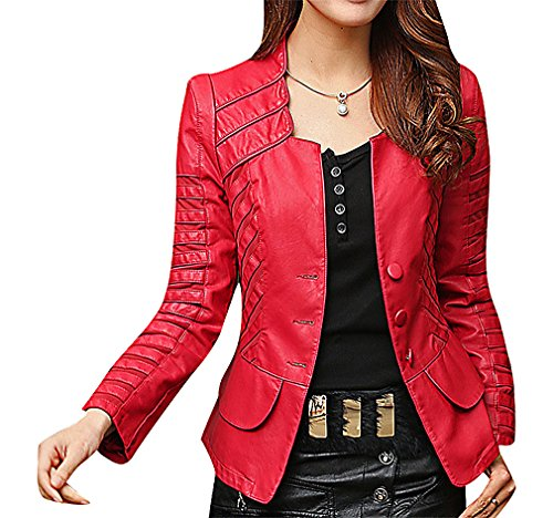 (Maze, Women's Solid Color Faux Leather Panelled Seamed Buttoned Fitted Jacket, Red XXL ,Manufacturer(XXXL))