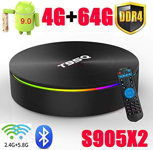 Android 9.0 TV Box T95Q Amlogic S905X2 with DDR4 4GB RAM 64GB ROM 4K Ultra HD H.265 Dual Band WiFi Bluetooth 4.0 Media Box 2.4/5Ghz WiFi 100M LAN