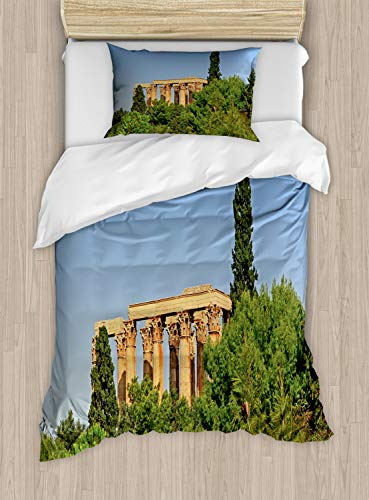 Lunarable Vintage Greece Duvet Cover Set, Archaeological Ruins in Athens, Decorative 2 Piece Bedding Set with 1 Pillow Sham, Twin Size, Olive Green Sand Brown Pale Azure Blue and Dark Cocoa