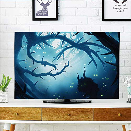 Jiahonghome tv dust Cover Decor Animal with Burning Eyes in Dark Forest at Night Horror Halloween Illustration Dust Resistant Television Protector W30 x H50 INCH/TV 52