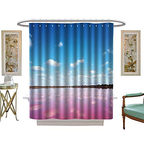 luvoluxhome Shower Curtains Sets Bathroom Panoramic Pink Salt Lake in Western Australia Lake Turns Bathroom Decor Sets with Hooks W72 x L72 ()