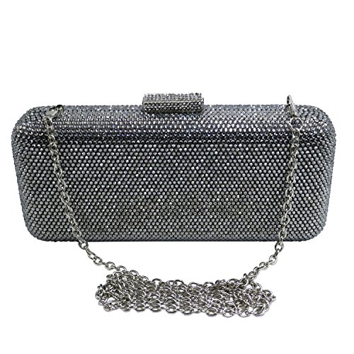 Clutch Grey Crystal Crystal DMIX Bags Evening Box qUwEwYRZ