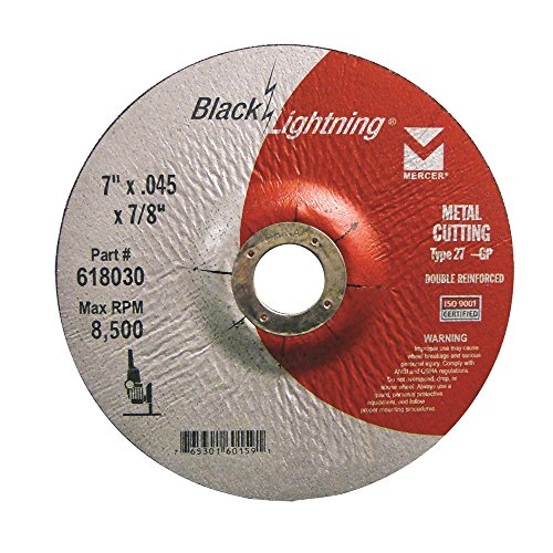 (Mercer Industries 618030 Type 27 Depressed Center Black Lightning Cut-Off Wheels for Metal (25 Pack), 7