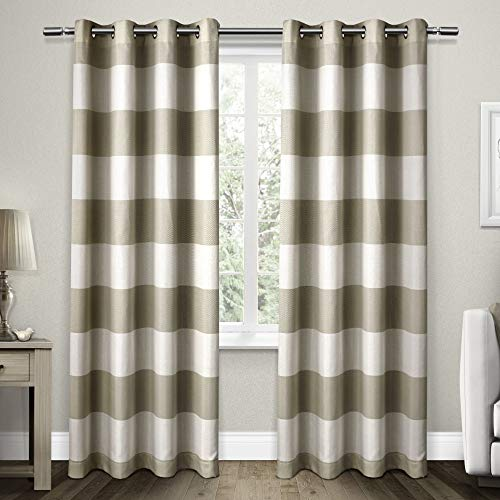 Exclusive Home Curtains Santa Monica Cabana Stripe Window Curtain Panel Pair with Grommet Top, 54x96, Taupe, 2 Piece