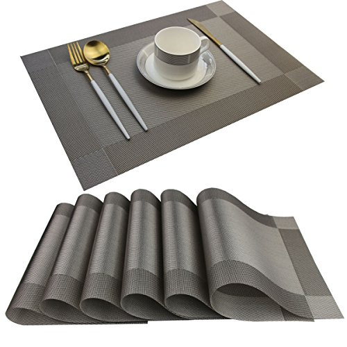 Nice Garden Placemats Easy to Clean Plastic dining table place mats Washable PVC Woven Vinyl Placemat for Kitchen Table Mats Set of 6(Silver, 6)