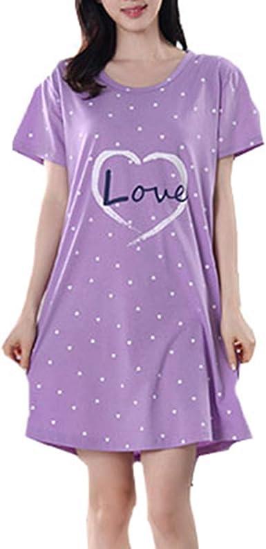 Pijama Mujer Elegante Manga Corta Talla Grande Pijamas algodón camisón: Amazon.es: Ropa y accesorios
