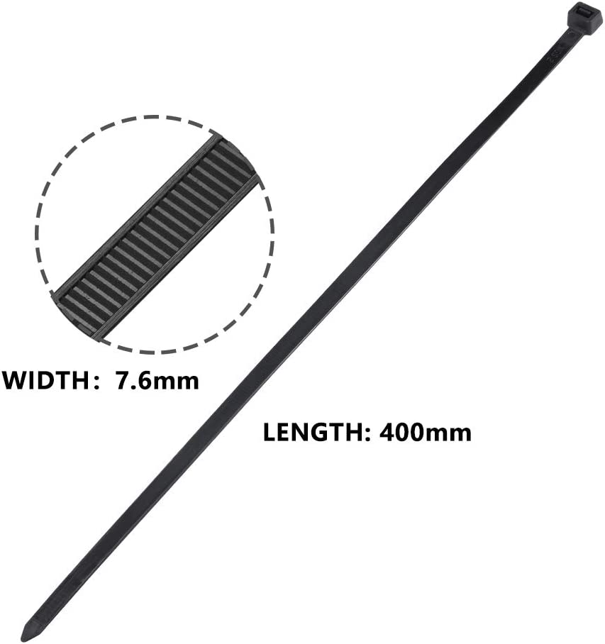 Lot de 100 Pi/èces /élargir et Allonger Noir Attache Cable Serre Cables en plastique Colliers Serre-Cable 400mm Serre-cables /électriques 400 mm x 7.6 mm